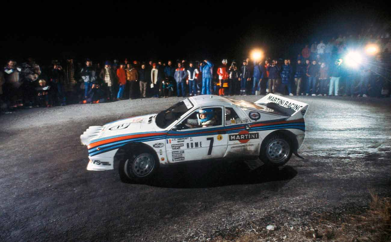 Jean Claude Andruet driving a Lancia 037 Group B car on a stage in the 1983 Monte Carlo Rally