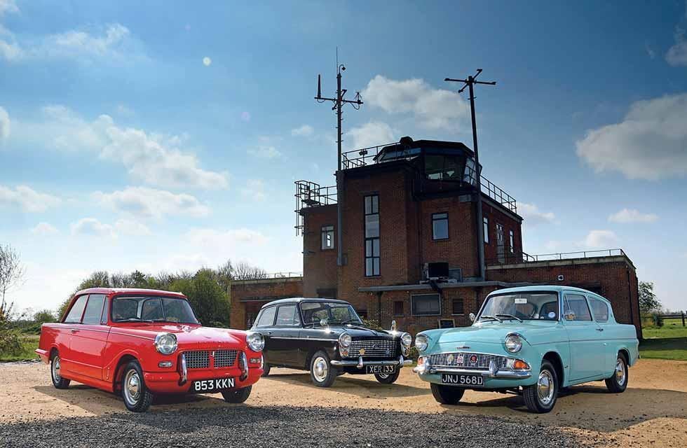 John Bradshaw - 1958 Austin A40 De Luxe vs. 1959 Ford Anglia 105E Deluxe and 1959 Triumph Herald 948