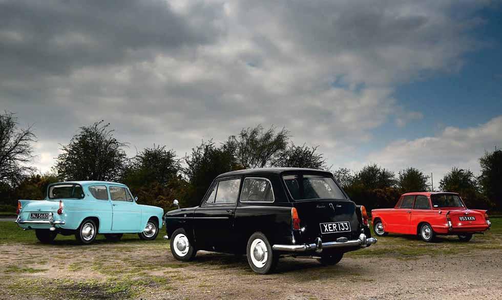 1958 Austin A40 De Luxe vs. 1959 Ford Anglia 105E Deluxe and 1959 Triumph Herald 948 - comparison road test