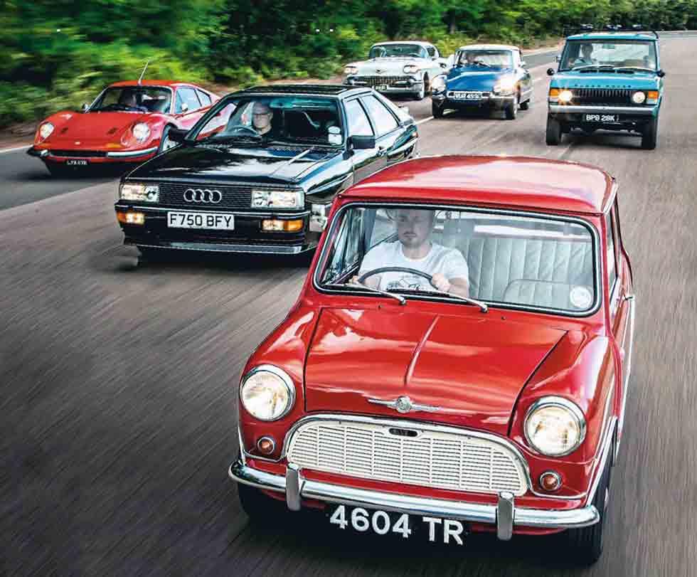 1961 Morris Mini Minor vs. 1988 Audi Quattro MB, 1971 Range Rover, 1971 Ferrari Dino 246GT, 1958 Cadillac Model 62 Coupe de Ville and 1967 Citroën DS21 - comparison retro road test-review