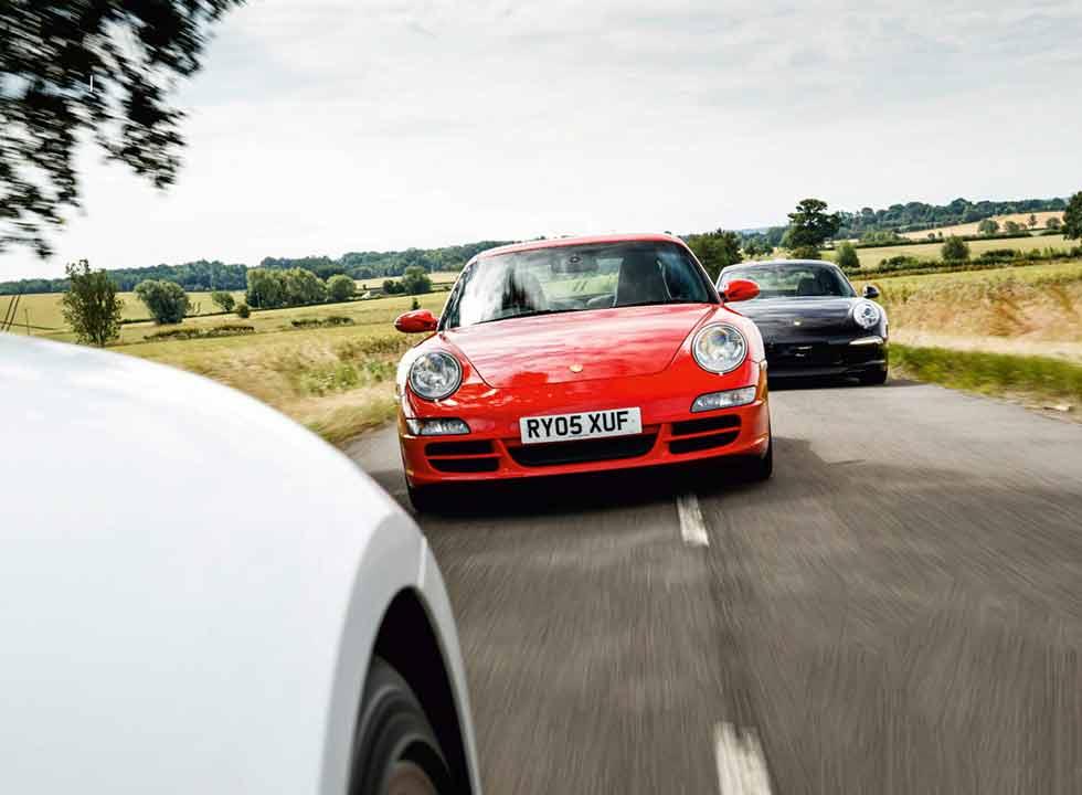 2020 Porsche 911 Carrera S 992 vs. 2011 Porsche 911 Carrera S 991 and 2004 Porsche 911 Carrera S 997