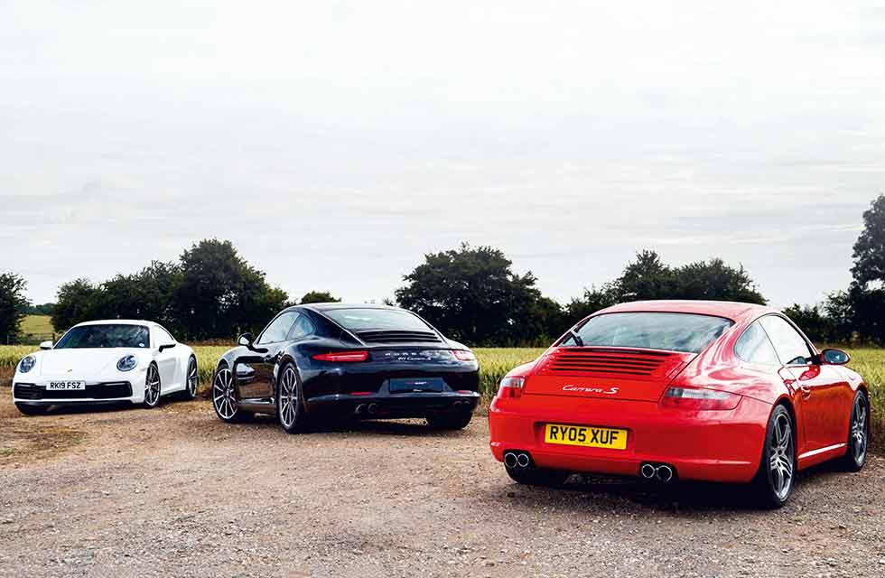 2020 Porsche 911 Carrera S 992 vs. 2011 Porsche 911 Carrera S 991 and 2004 Porsche 911 Carrera S 997 - comparison road test