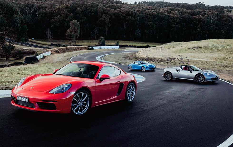 2019 Alpine A110 vs. 2019 Alfa Romeo 4C Spider Type 960 vs. 2019 Porsche 718 Cayman 982C
