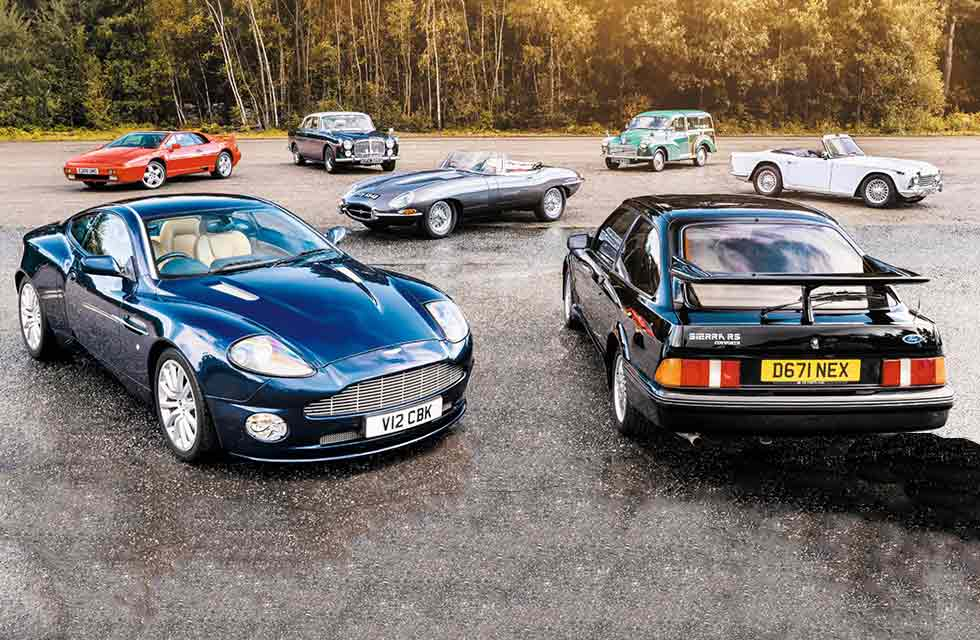 1964 Jaguar E-type S1 3.8 Roadster vs. 1967 Triumph TR4A, 1969 Morris Minor Traveller, 1987 Ford Sierra RS Cosworth, 1968 Rover P5B Coupé, 1988 Lotus Esprit Turbo and 2003 Aston Martin Vanquish