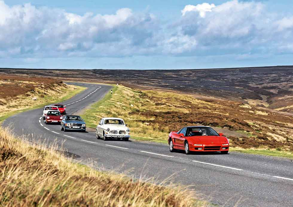Yorkshire Moors in the Mercedes-Benz 'R107' SL, Porsche 911 964, Bristol 411, Honda NSX, Mazda MX5 and Volvo Amazon to test the theory