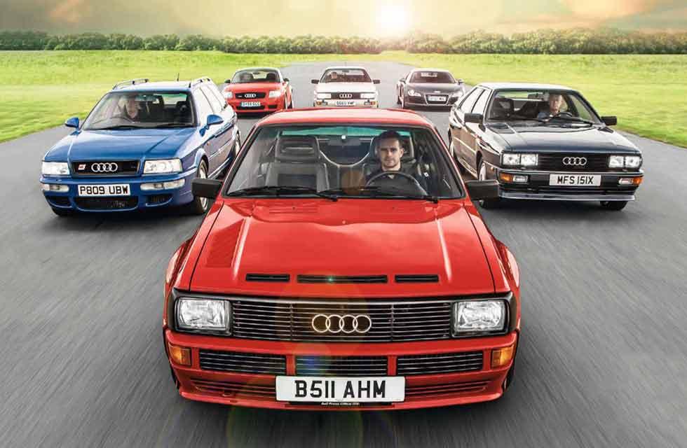 1981 Audi Quattro Turbo B2 vs. 1984 Audi Sport Quattro B2, 1990 Audi Quattro 20v B2, 1996 Audi 80 RS2 Avant 8C B4, 2005 Audi TT Quattro Sport 8N and 2007 Audi R8 Type 42