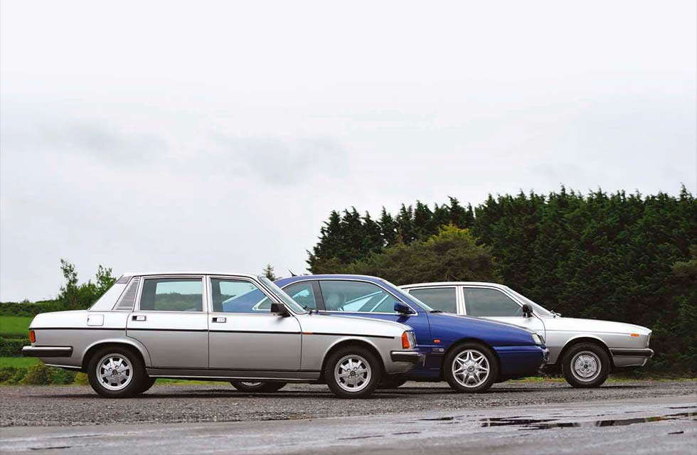 1976 Lancia Gamma 2500 Berlina Type 830 vs. 1980 Lancia Trevi 2000 Type 828 and 1997 Lancia Kappa Coupe 2.0t Type 838